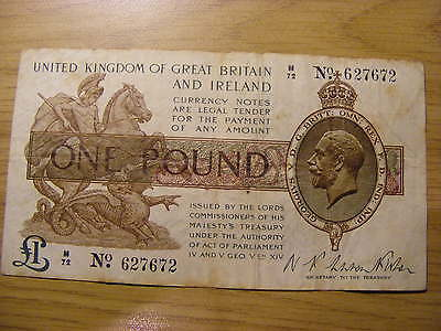 One Pound Treasury Banknote N F Warren Fisher M72 627672 - Used  nice number
