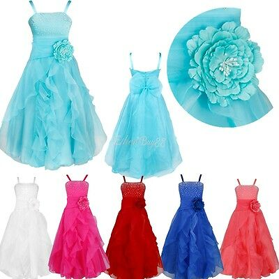 USA Flower Girl Pageant Birthday Party Princess Wedding Bridesmaid Formal Dress