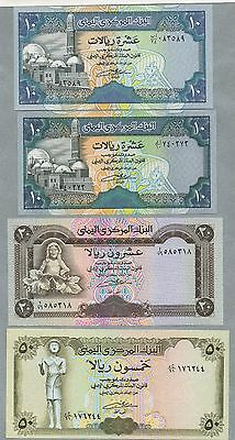 10(x2),20,50 rials Yemen Arab Republic uncirculated banknote, Pick 23,24,26,27A