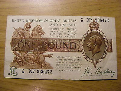 One Pound Treasury Banknote John Bradbury  D59 936472 - T16 Type - Nice Note