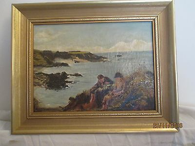 Antique Original Oil Painting On Canvas: Seascape Ocean  signed A Fearnall 1916