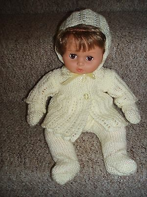 "Dolls Clothes-New Hand Knitted -Lemon -Fits 16"" Doll-Tiny Tears Or Similar"