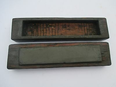 Vintage Hone Razor Oil Stone in ornate wooden box - Charnley Forest