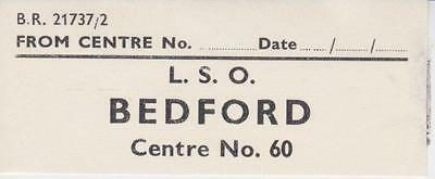 British Railways Luggage Label LETTER SORTING OFFICE BEDFORD