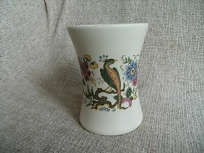 Vintage PURBECK Vase with Peacock Floral Design 10cm Tall