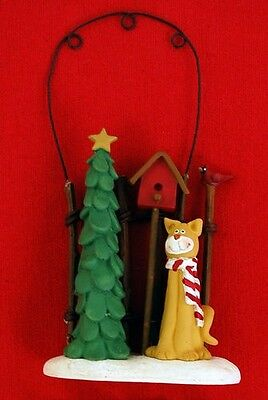 Kitty Cat Fence Christmas Ornament Resin Collectible Adorable Holiday NEW