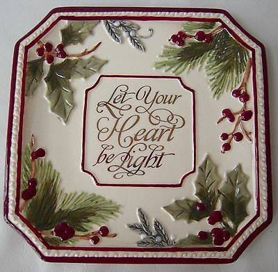 Grasslands Road Holiday Impressions Christmas Holly Berries Accent Plate - NEW