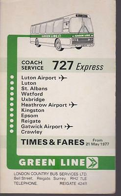Green Line Coach Route 727 London Bus Timetable Lft May 1977