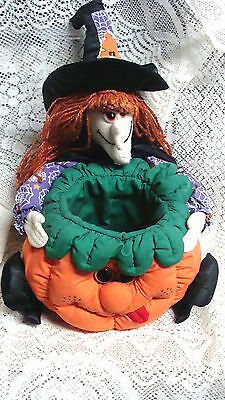 FABRIC Halloween  STUFFED Witch Candy Bowl