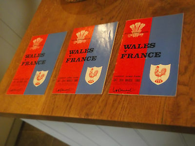 3 Wales V France Rugby Union Match Programmes 1966 1968 & 1970 & Part 68 Ticket