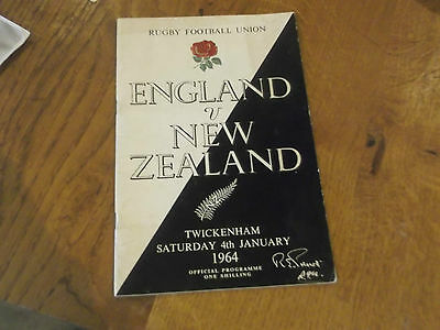 1964 England V New Zealand  Rugby Union Match Programme