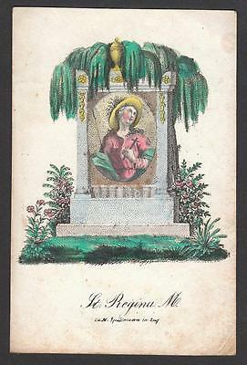 Hl. Regina Litho 19.Jh. Old Holy Card Santino