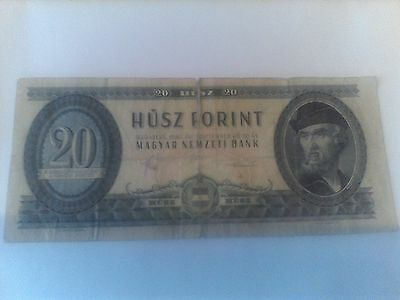 HUNGARY  20 FORINT  BANKNOTE 1975 P#169 poor