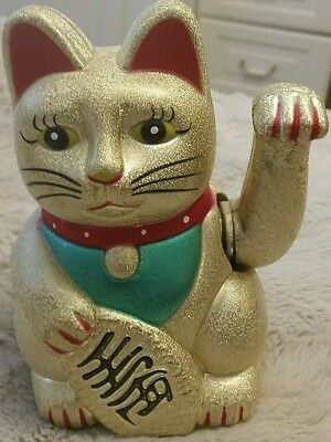 CHINESE 'Feng Shui' WAVING Gold Handpainted LUCKY CAT Figure (with Moving Arm)