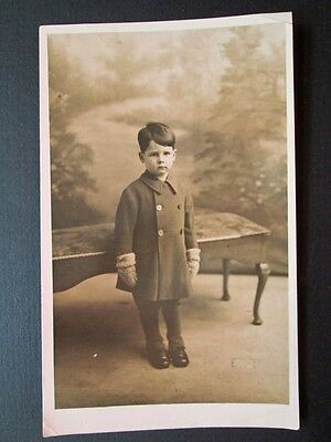 Smartly Dressed Little Boy, Coat, Gaiters, Mittens - Real Photo By Jerome (1932)