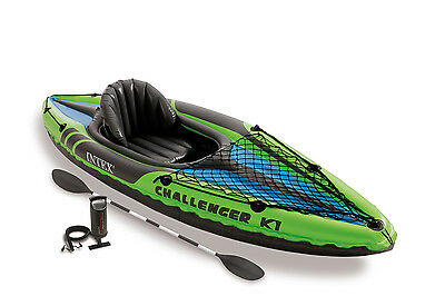 Intex Challenger K1 1-Person Inflatable Sporty Kayak + Oars And Pump | 68305EP