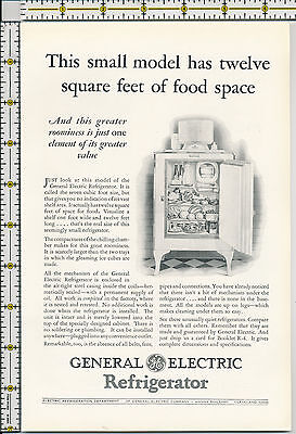 General Electric Refrigerator 1928 magazine print ad