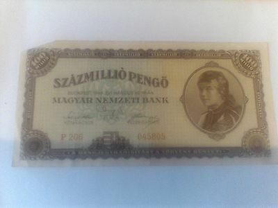 100 Milpengo BANKNOTE FROM HUNGARY P#124 1946