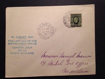 Lettre Last Day British Post Office Maroc 1937