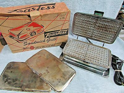 Old HS Home Steel Products Toastess Grillette T 51 Waffle Sandwich Grill FREE SH