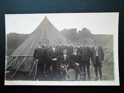 GENTLEMEN OUTSIDE TENT, POSSIBLY AGRICULTURAL SHOW - REAL PHOTO PC (1910s)