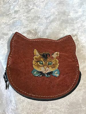 Vintage Leather Kitty Cat Coin Purse