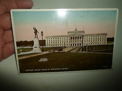 Vintage Carbo Colour Postcard Northern Ireland Houses of Parliament BELFAST 1942