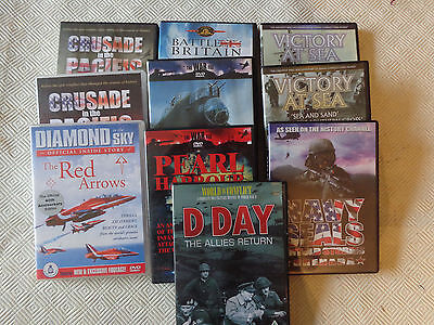 Ten DVD's depicting aviation and naval power.