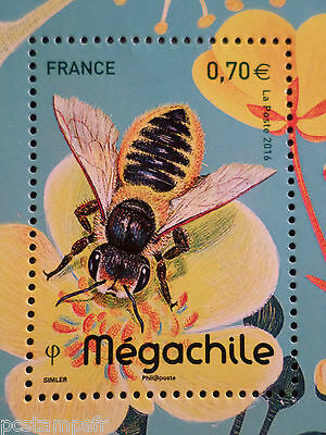 FRANCE 2016, TIMBRE INSECTES, ABEILLE MEGACHILE, BEE, neuf**, VF MNH STAMP