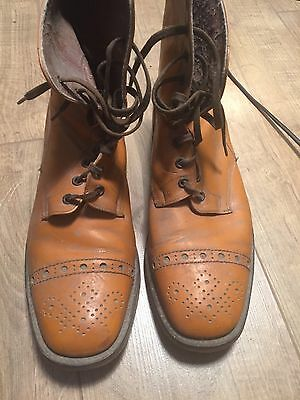 Vintage Men's Leather Boots British Made Size 10 Leather Sole Metal Heel 60/70s