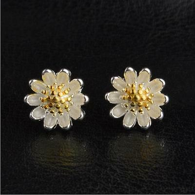 925 Sterling Silver & Gold Two Tone Plated Cute Small Daisy Flower Earrings Gift