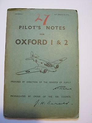Original RAF Aircraft Airspeed Oxford 1&2 Pilots Notes