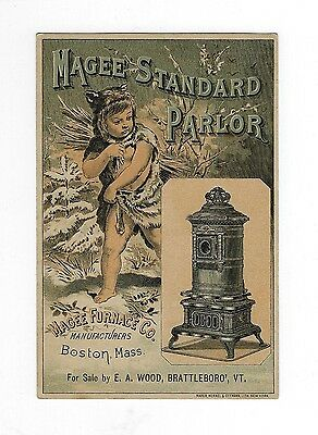 Late 1800s Trade Card - MAGEE STANDARD PARLOR STOVE - E.A. Wood Brattleboro, VT
