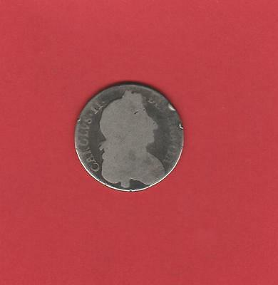 HALF-CROWN SILVER COIN of CHARLES II Low Grade Space Filler