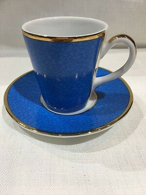 Royal Worcester Cup & Saucer blue 2006 To Celebrate Queens 80th Birthday