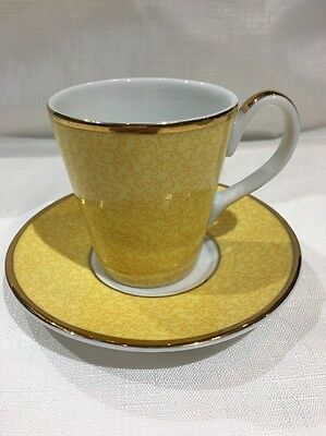Royal Worcester Cup & Saucer yellow 2006 To Celebrate Queens 80th Birthday