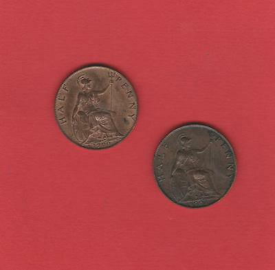 2 x VICTORIAN HALFPENNY COINS 1900 + 1901 High Grade. See both scans.