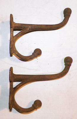 2 Antique Bridle Hooks Horse Tack Bracket Cast Iron #2 Matched Pair
