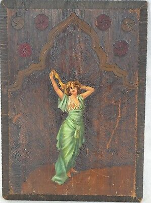 goddess oil painting carved wood plaque muse Edwardian Victorian antique  1900