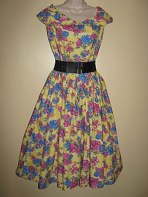 Stunning Vintage Pin Up 1940/50s Style  Rose Swing Dress  14