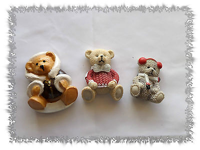 Lot de 3 Aimants Magnets Ours Fantaisies Résine Neufs
