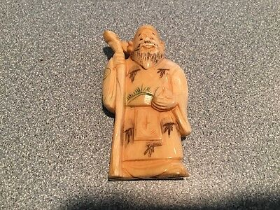 """VINTAGE NETSUKE MAN with  baton  SIGNED 2"""" some issues read details"""