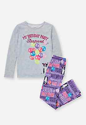 Justice Girl's 'MY BIRTHDAY PARTY SLEEPOVER' Pajama Set Size 20 NWT