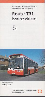 Route T31 London Transport Bus Timetable Lft MAY 2000