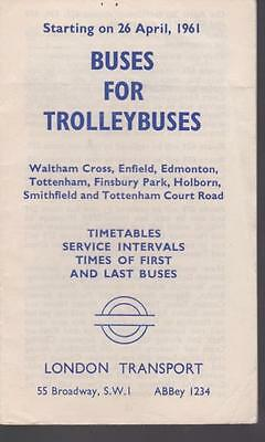 London Transport Bus Timetable Lft BUSES FOR TROLLEYBUSES WALTHAM CROSS 1961