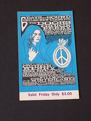 THE DOORS Psychedelic FILLMORE TICKET by Bonnie MacLean BG099