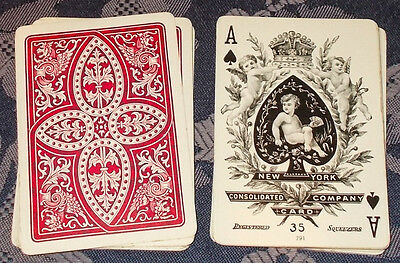 ANTIQUE PLAYING CARDS  /  Consolidated card co. Sqeezers 35  Bezique Deck  32/32
