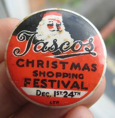 TASCOS Ten Acres and Stirchley Co-op 1930s Santa Christmas tin pin button BADGE