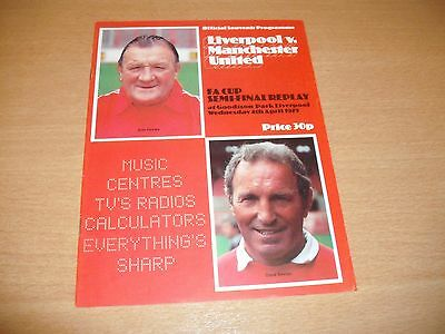 1979 FA CUP SEMI FINAL REPLAY LIVERPOOL v MANCHESTER UNITED  PROGRAMME