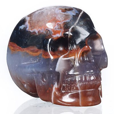"""2.01""""Natural Multi-color Agate Hand Carved Smiling Skull,Collectibles 22U68"""